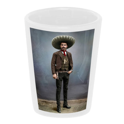 Bronze Baboon wholesale Pancho Villa in Studio 1.5 oz. White Ceramic Shot Glass