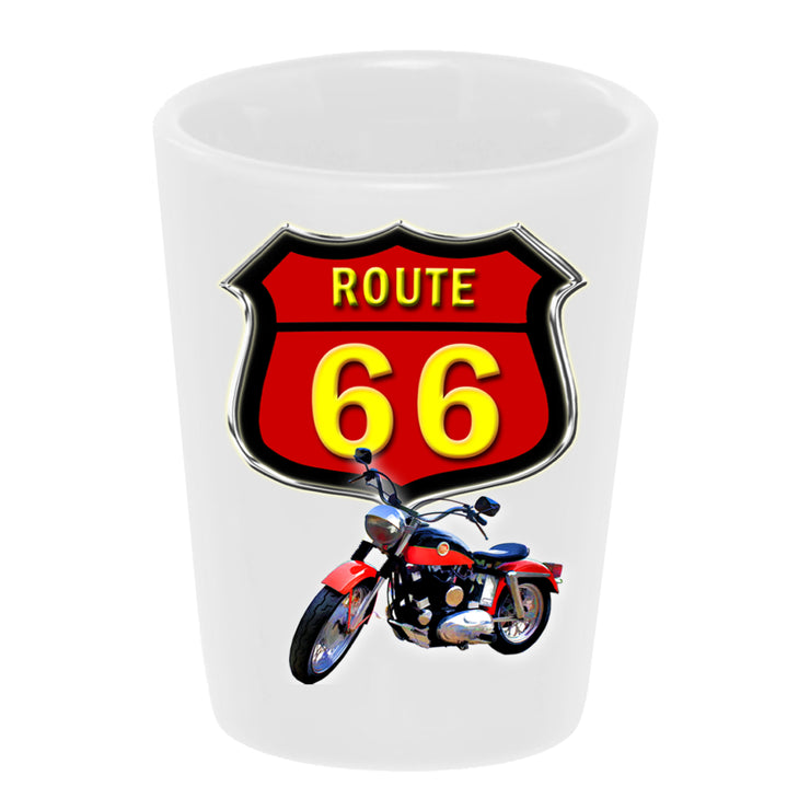 "Bronze Baboon wholesale ""Route 66 Motorcycle"" 1960 Harley-Davidson Sportster 1.5 oz. White Ceramic Shot Glass"