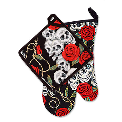 "Wholesale by Bronze Baboon: ""Rose Tattoo-Black"" Oven Mitt & Pot Holder Set"