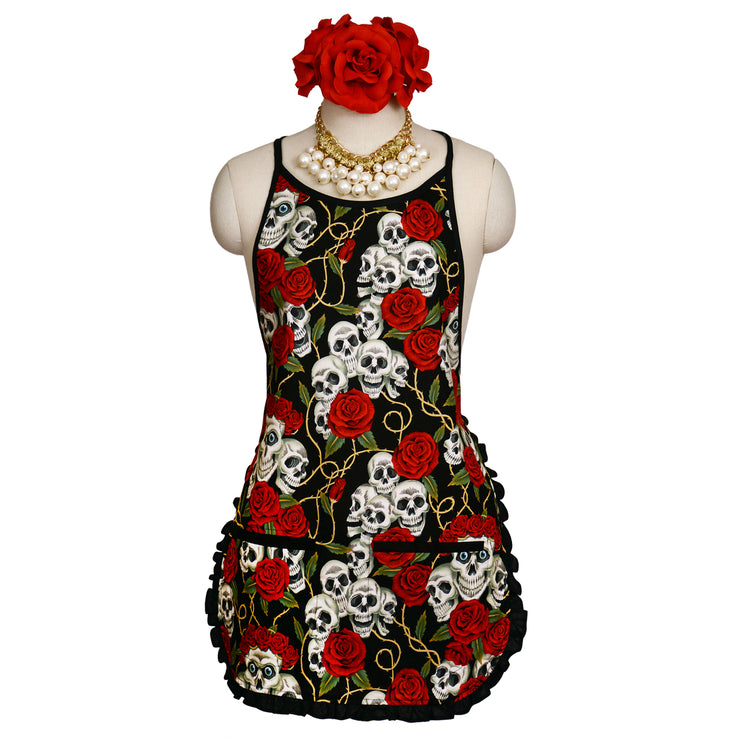 "Wholesale by Bronze Baboon: ""Rose Tattoo-Black"" Classic Apron"