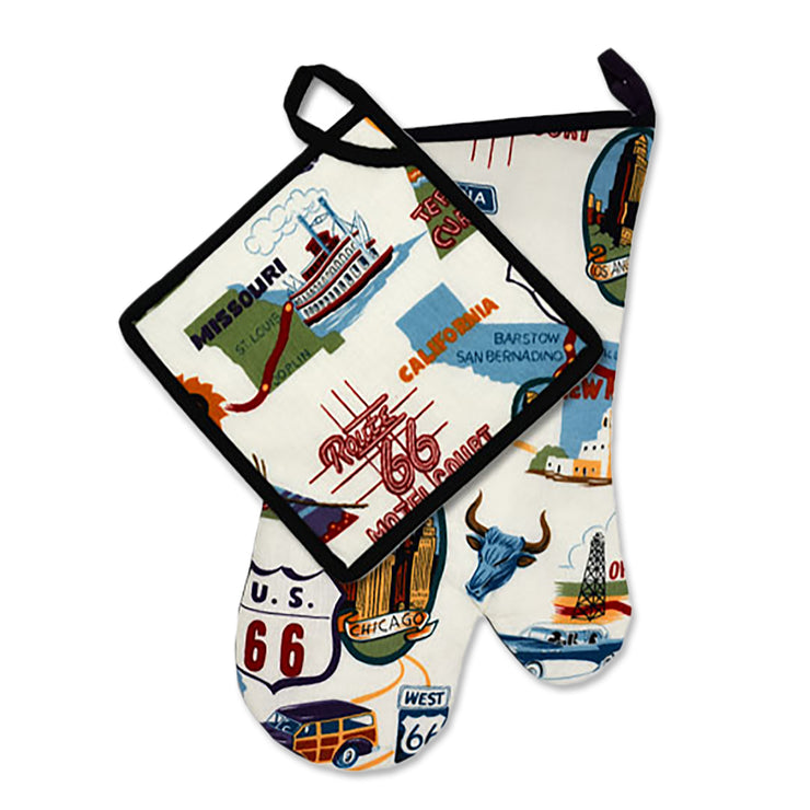 "Wholesale by Bronze Baboon: ""Route 66"" Oven Mitt & Pot Holder Set"