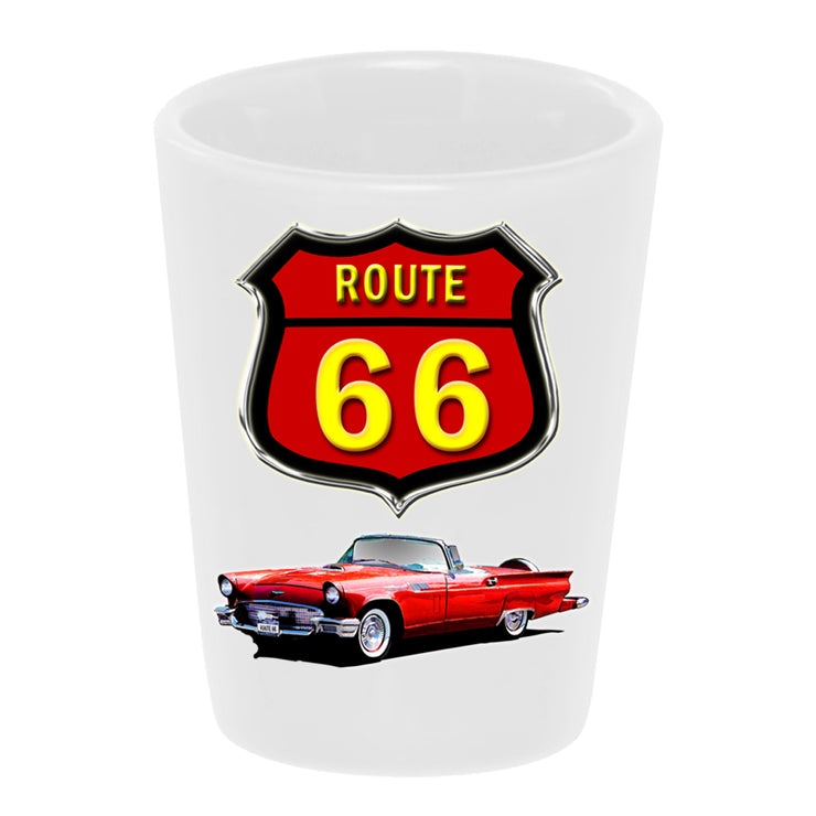 "Bronze Baboon wholesale ""Route 66: 1957 Ford Thunderbird"" 1.5 oz. White Ceramic Shot Glass"
