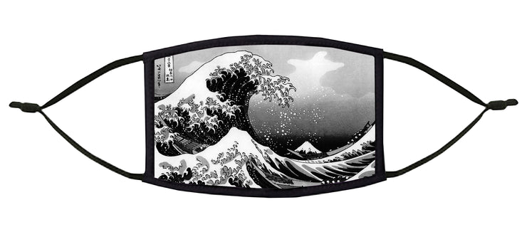 The Great Wave off Kanagawa  - Black and White - Adjustable Face Mask