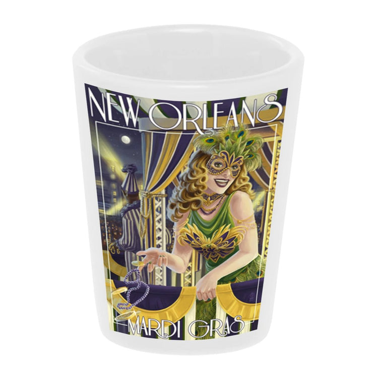 """Vintage: New Orleans"" 1.5 oz. White Ceramic Shot Glass"