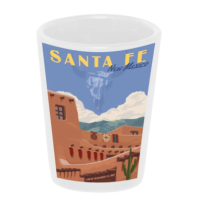 """Vintage: Santa Fe, New Mexico"" 1.5 oz. White Ceramic Shot Glass"