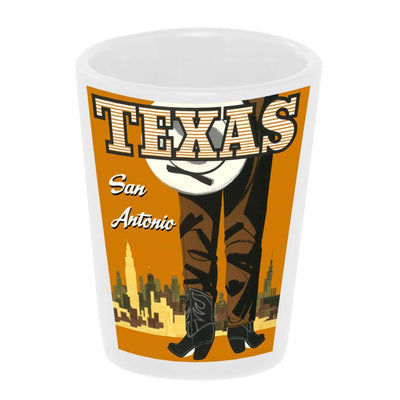 """Vintage: San Antonio, Texas"" 1.5 oz. White Ceramic Shot Glass"