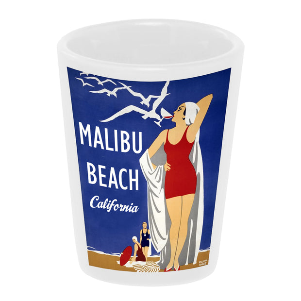 "Bronze Baboon ""Vintage: Malibu Beach, California"" 1.5 oz. White Ceramic Shot Glass"