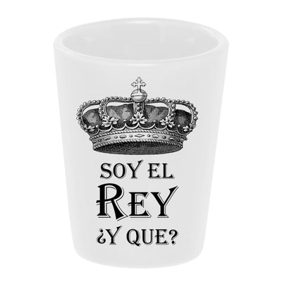 Bronze Baboon Soy El Rey ¿Y Que? (I am the King...And What?) 1.5 oz. White Ceramic Shot Glass