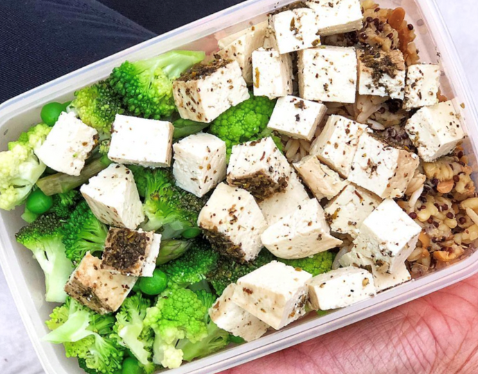 Herb Tofu with Mixed Grains, Wheat Berries & Greens