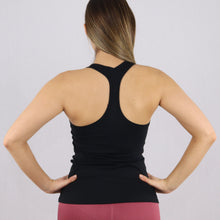 Load image into Gallery viewer, Womens gym Racer Back Stretchy Vest in black
