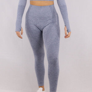 Women's Grey/Blue Classic High Waisted Gym Leggings
