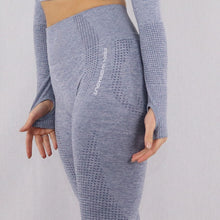 Load image into Gallery viewer, Women's Grey/Blue Classic High Waisted Gym Leggings