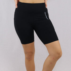 Womens Black High-Waist gym shorts with pocket