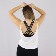 Load image into Gallery viewer, Women's White Open Back Gym Vest