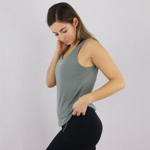 Women's Green Open Back Loose Gym Vest