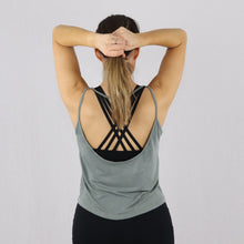 Load image into Gallery viewer, Women's Green Open Back Loose Gym Vest