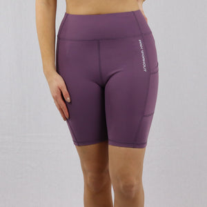 Women's Purple High Waisted Cycling Shorts with Pocket