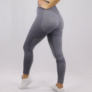 Women's Light Grey High Waisted Seamless Gym Leggings