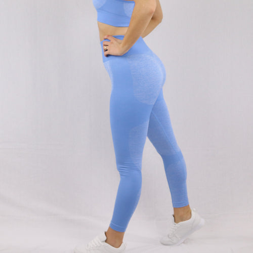 Women's Blue Flex Seamless High waisted Gym Leggings