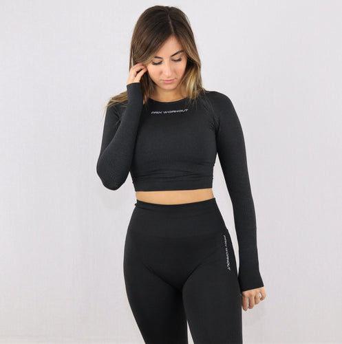 Womens long sleeve gym sports bra crop top in black