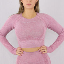 Load image into Gallery viewer, Women's Pink Classic Long Sleeve Crop Top