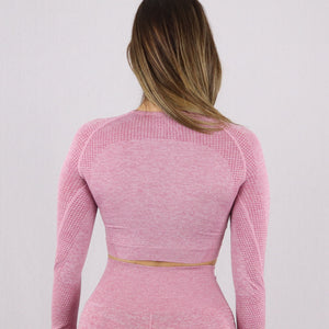 Women's Pink Classic Long Sleeve Crop Top
