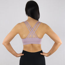 Load image into Gallery viewer, Women's Lilac Criss-Cross Strap Sports Bra