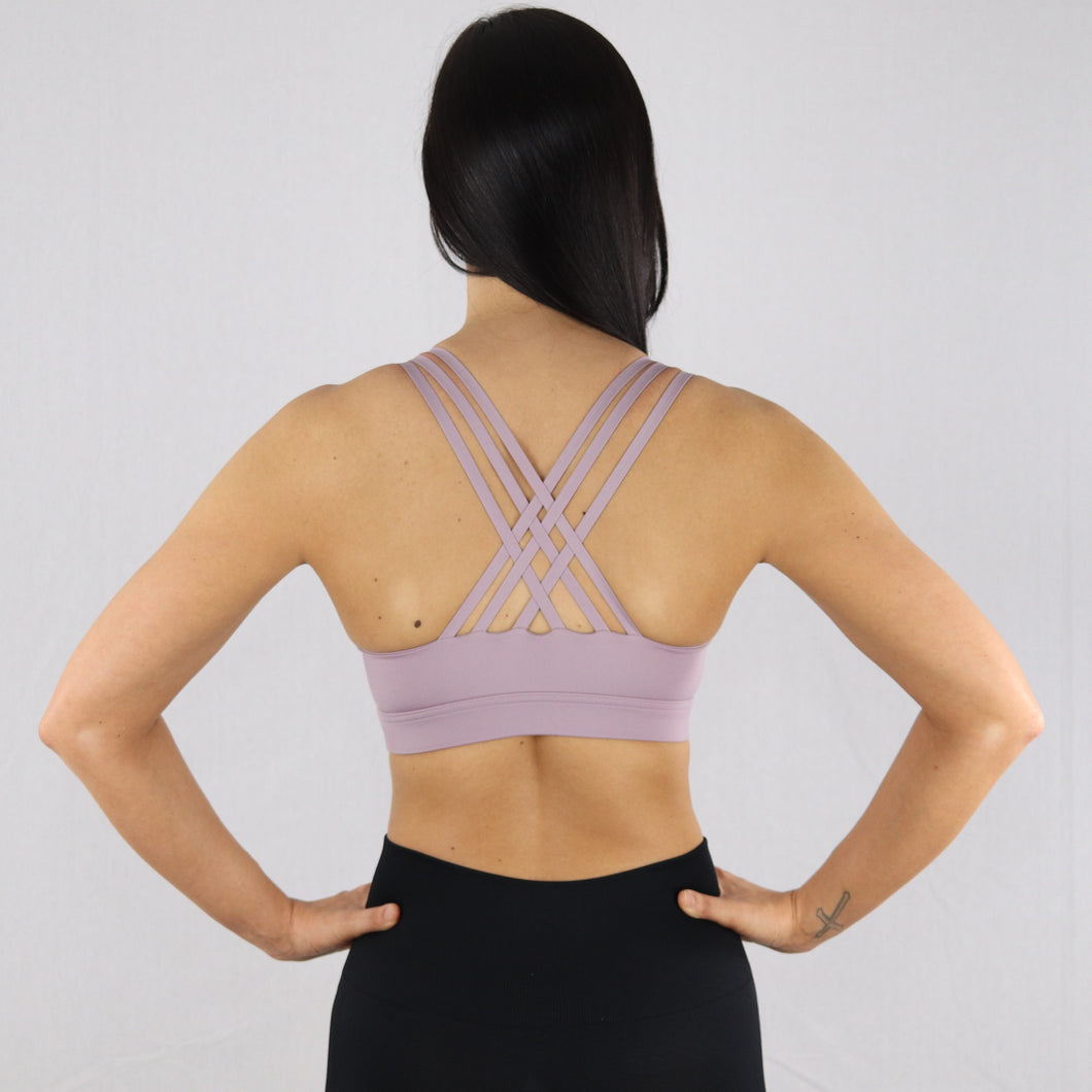 Women's Lilac Criss-Cross Strap Sports Bra