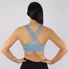 Load image into Gallery viewer, Women's Light Blue Criss-Cross Strap Sports Bra