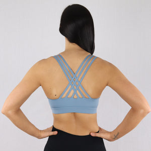 Women's Light Blue Criss-Cross Strap Sports Bra