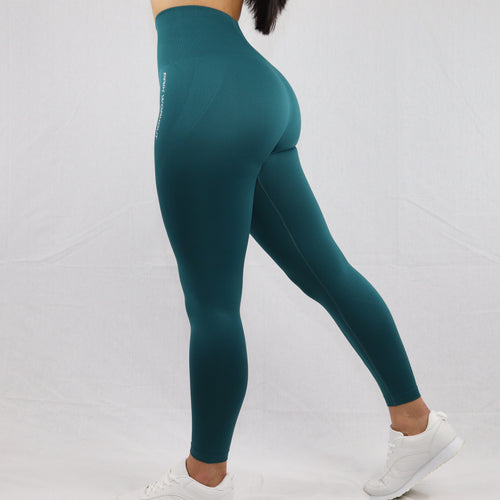 Women's Green Seamless High Waisted Gym Leggings