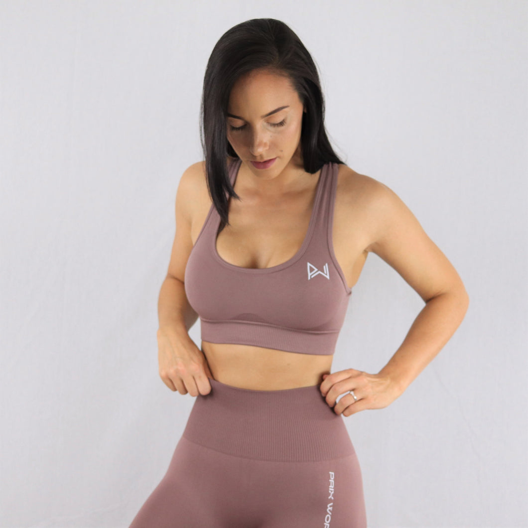 Women's Taupe Essential Seamless Sports Bra