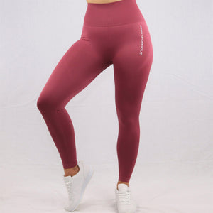 Women's Red Essential Seamless High Waisted Gym Leggings