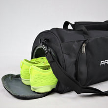 Load image into Gallery viewer, Black Sports Duffle Bag with rear shoe compartment