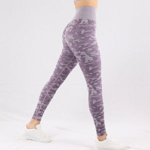 Women's Purple Camouflage Seamless High waisted Gym Leggings
