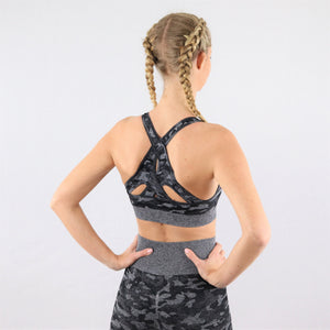 Women's Black Camouflage Gym Sports Bra