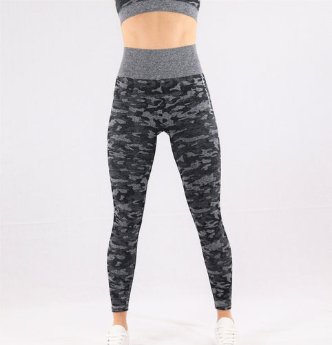 Women's Black Camouflage Seamless High waisted Gym Leggings