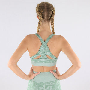 Women's Mint Camouflage Gym Sports Bra