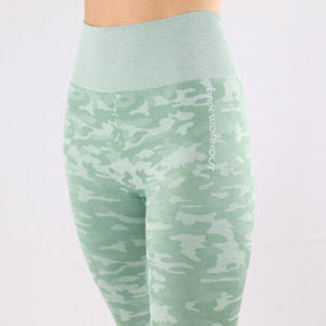 Women's Mint Camouflage Seamless High waisted Gym Leggings
