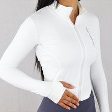 Load image into Gallery viewer, White Stretchy Zip Long Sleeve Top