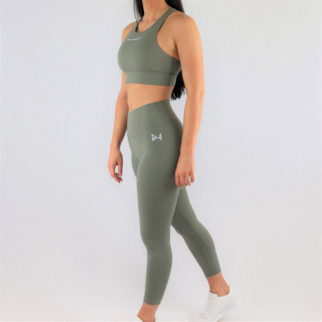 womens khaki 7/8 gym leggings