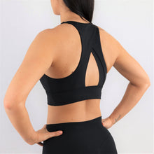 Load image into Gallery viewer, black high neck sports bra