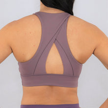 Load image into Gallery viewer, Purple High Neck Sports Bra