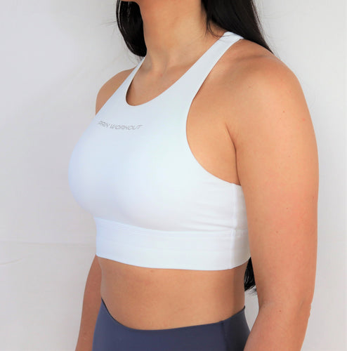 White high neck sports bra