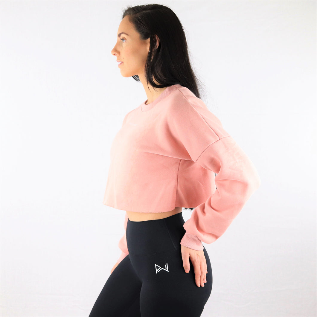 Pink Oversized Cropped Sweatshirt