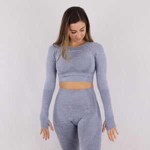 Women's Grey/Blue Classic Long Sleeve Crop Top with built in support