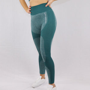 Women's Green High Waisted Seamless Gym Leggings