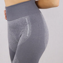 Load image into Gallery viewer, Women's Light Grey High Waisted Seamless Gym Leggings