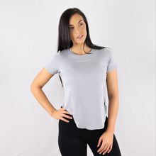 Load image into Gallery viewer, Women's Grey Twisted Hem Gym T-Shirt