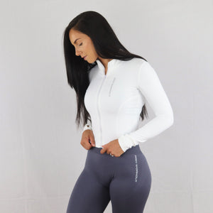 White Stretchy Zip Long Sleeve Top